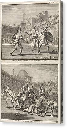 Holy Telemachus Of Rome Interrupts A Gladiatorial Combat Canvas Print by Jan Luyken And Jacobus Van Hardenberg And Barent Visscher