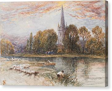 Holy Trinity Church On The Banks If The River Avon Stratford Upon Avon Canvas Print by Myles Birket Foster