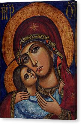 Holy Virgin With The Child Canvas Print by Ketti Peeva