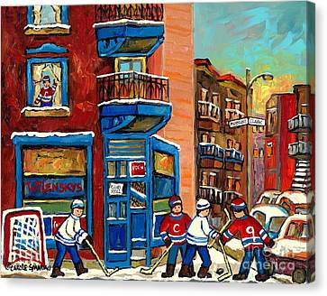 Best Selling Original Montreal Paintings For Sale Hockey At Wilensky's By Carole Spandau Canvas Print by Carole Spandau