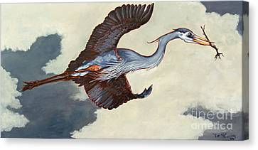 Home Bound Heron Canvas Print by Eve McCauley
