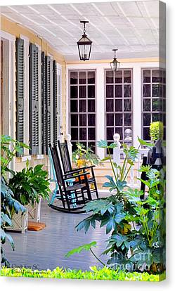 Veranda - Charleston, S C By Travel Photographer David Perry Lawrence Canvas Print