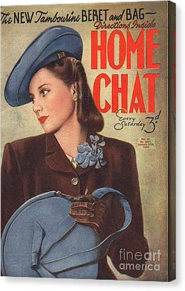 Home Chat 1940s Uk Womens Portraits Canvas Print by The Advertising Archives