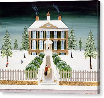 Snowy Night Night Canvas Print - Home For Christmas by Mark Baring