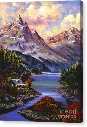 Home In The Mountains Canvas Print by David Lloyd Glover