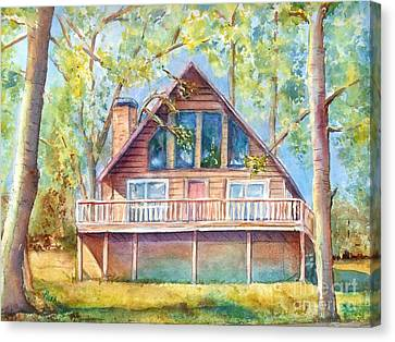Log Cabin Canvas Print - Home In The Woods by Patricia Pushaw