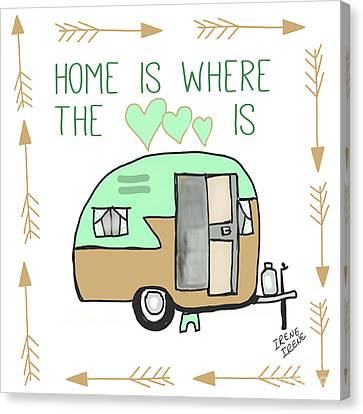 Home Is Where The Heart Is Campling Trailer Vintage Canvas Print by Irene Irene
