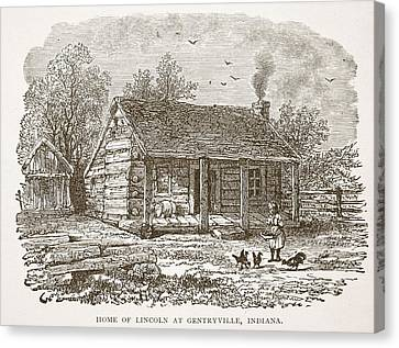 Home Of Lincoln At Gentryville Canvas Print by American School