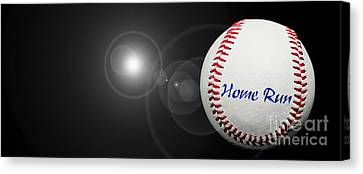 Home Run - Baseball - Sport - Night Game - Panorama Canvas Print by Andee Design
