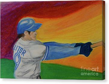 Canvas Print featuring the drawing Home Run Swing Baseball Batter by First Star Art