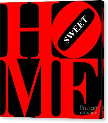 Kitschy Canvas Print - Home Sweet Home 20130713 Red Black White by Wingsdomain Art and Photography