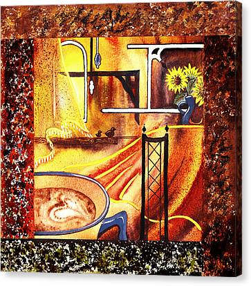 Home Sweet Home Decorative Design Welcoming Three  Canvas Print by Irina Sztukowski