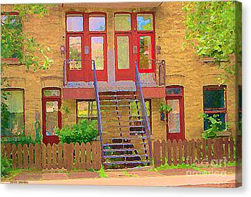 Home Sweet Home Red Wooden Doors The Walk Up Where We Grew Up Montreal Memories Carole Spandau Canvas Print by Carole Spandau