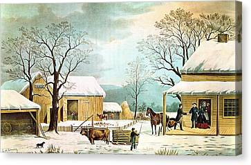 Wagon Canvas Print - Home To Thanksgiving by Currier and Ives