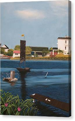 Canvas Print featuring the painting Home Town by Susan Roberts