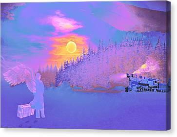 Canvas Print featuring the painting Homebound Train Angel And A Suitcase by David Mckinney