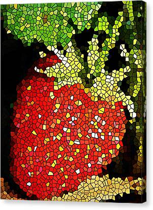 Homegrown Strawberry Mosaic Canvas Print by Chris Berry