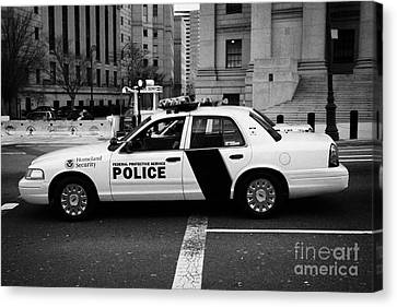 Terrorist Canvas Print - Homeland Security Federal Protective Service White Police Car Outside Courthouse New York City by Joe Fox