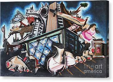 Terrorist Canvas Print - Homeland Security Phase 3 Birth Of A Strip Mall by Mack Galixtar
