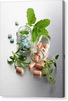 Homeopathic Medicine And Herbs Canvas Print