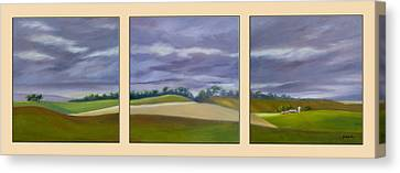 Canvas Print featuring the painting Homeward Bound - Triptych by Jo Appleby