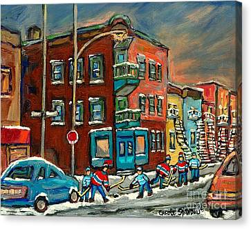 Hockey Art Big Game Tonight At The Local Deli Montreal Winter Art Hockey Near Winding Staircases  Canvas Print by Carole Spandau