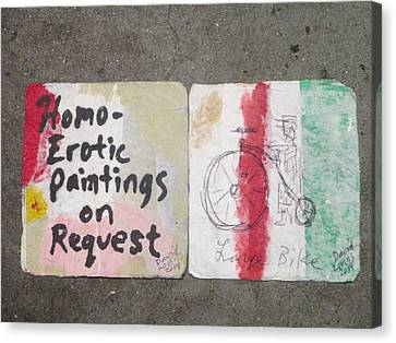 Homo-erotic Paintings On Request And Large Bike Napkins Canvas Print by David Lovins