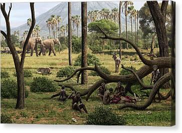 Homo Habilis Hunters Canvas Print