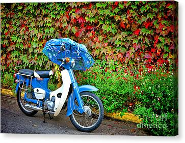 Honda With Umbrella Canvas Print by Olivier Le Queinec