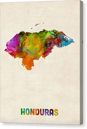 Honduras Watercolor Map Canvas Print by Michael Tompsett