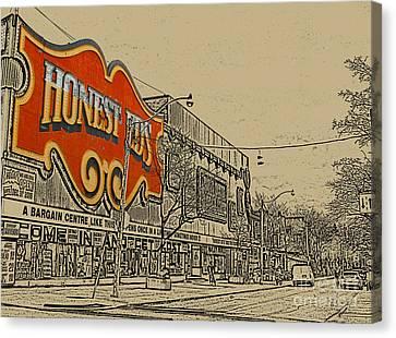 Honest Eds On Markham Street Canvas Print by Nina Silver