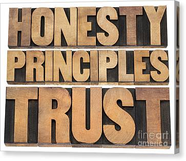 Canvas Print featuring the photograph Honesty Principles And Trust by Marek Uliasz