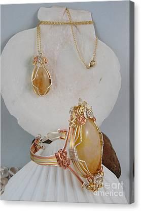 Honey Quartz Necklace And Bracelet Set Canvas Print