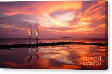Honeymoon - A Heart In The Sky Canvas Print by Hannes Cmarits