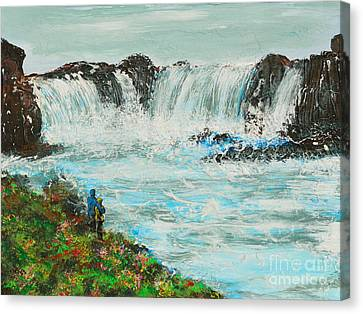 Honeymoon At Godafoss Canvas Print by Alys Caviness-Gober
