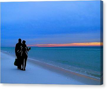 Honeymooners At Dawn On Pensacola Beach Canvas Print by Cindy Croal
