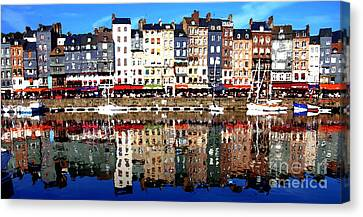 Canvas Print featuring the photograph Long Horizontal Abstract - Honfleur Artists Village  by Jacqueline M Lewis