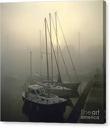 Honfleur Harbour In Fog. Calvados. Normandy Canvas Print by Bernard Jaubert