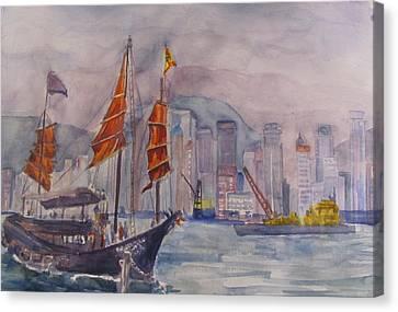 Hong Kong Harbor At Twilight Canvas Print