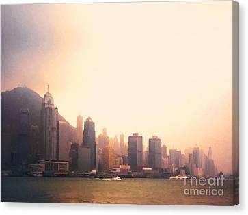 Hong Kong Canvas Print - Hong Kong Harbour Sunset by Pixel  Chimp