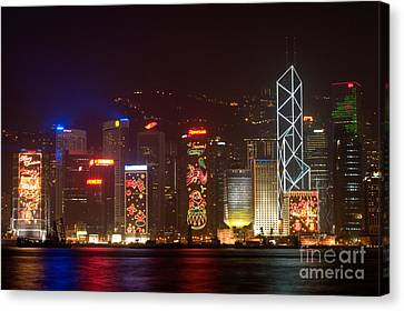 Hong Kong Holiday Skyline Canvas Print by Ei Katsumata