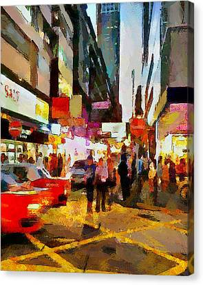 Hong Kong Night Lights 2 Canvas Print by Yury Malkov
