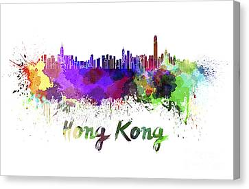 Hong Kong Canvas Print - Hong Kong Skyline In Watercolor by Pablo Romero