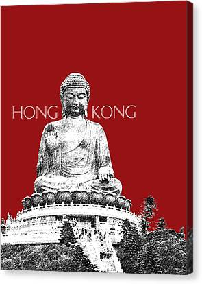Hong Kong Skyline Tian Tan Buddha - Dark Red Canvas Print by DB Artist