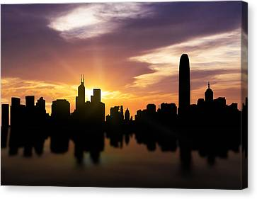 Hong Kong Sunset Skyline  Canvas Print by Aged Pixel