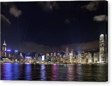 Hong Kong Symphony Of Lights Show Canvas Print by David Gn