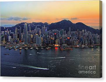Hong Kong's Skyline During A Beautiful Sunset Canvas Print by Lars Ruecker