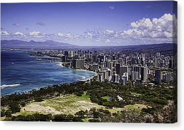 Honolulu From Diamond Head Canvas Print by Joanna Madloch