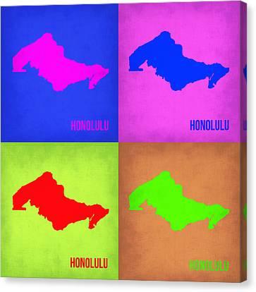 Honolulu Pop Art Map 1 Canvas Print