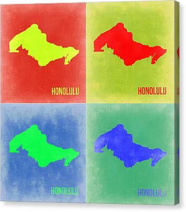 Honolulu Pop Art Map 2 Canvas Print